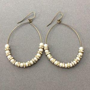 Anthropologie Pearl & Diamond Earrings